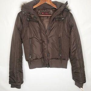 First Kiss puffer winter jacket faux fur trimmed